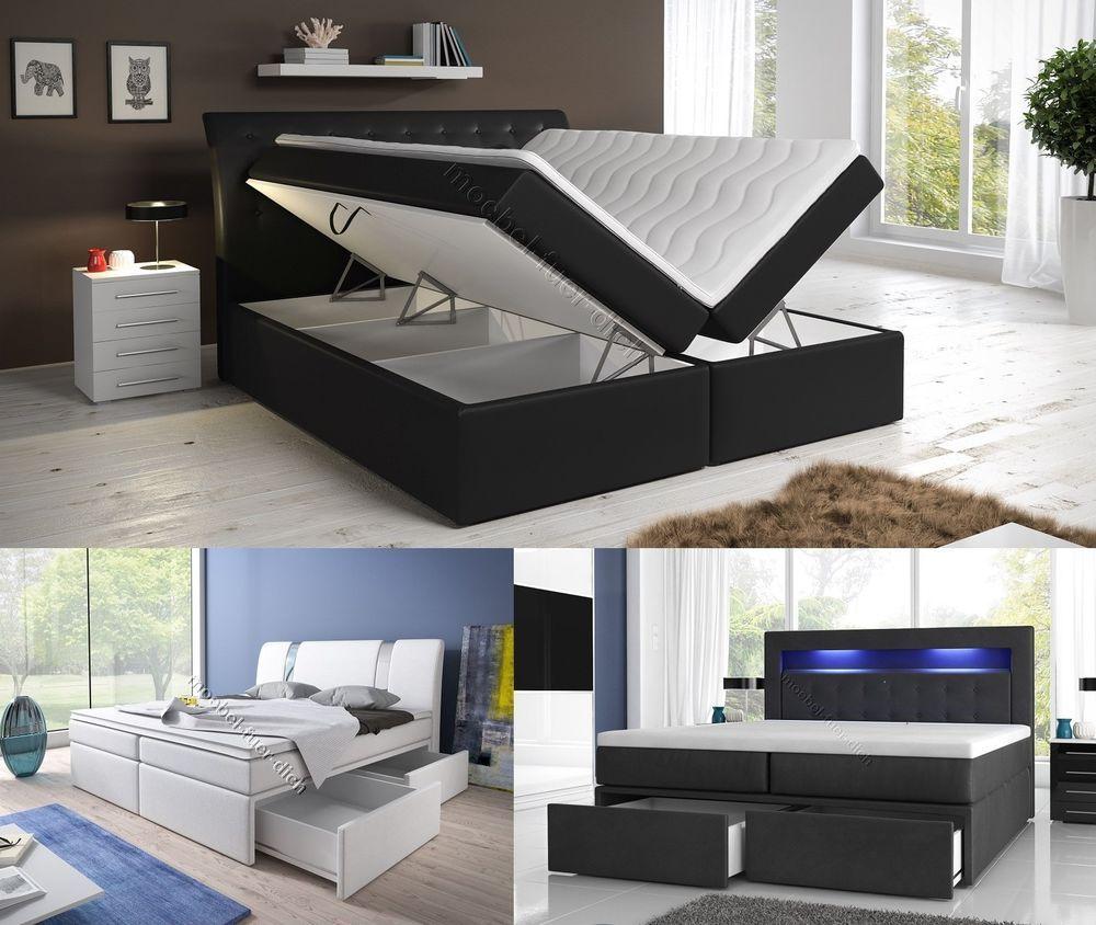 Boxspringbett Mit Zwei Bettkasten 140, 160 Oder 180x200 Weiß Oder Schwarz |  Möbel U0026 Wohnen