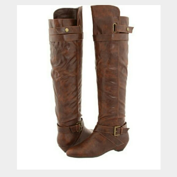 Madden Girl 'Zeda' Over-the-Knee Riding Boots Brown Madden Girl 'Zeda' Over-the-knee riding boots with side buckles. Slight wear & tear on the toe but other than that they look and feel great. Size 8 & they fit true to size. Madden Girl Shoes Over the Knee Boots