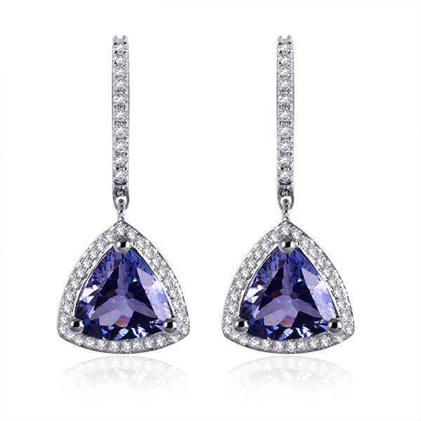 4 42ct Trillion Cut Tanzanite Drop Earrings Diamond Pave White Gold