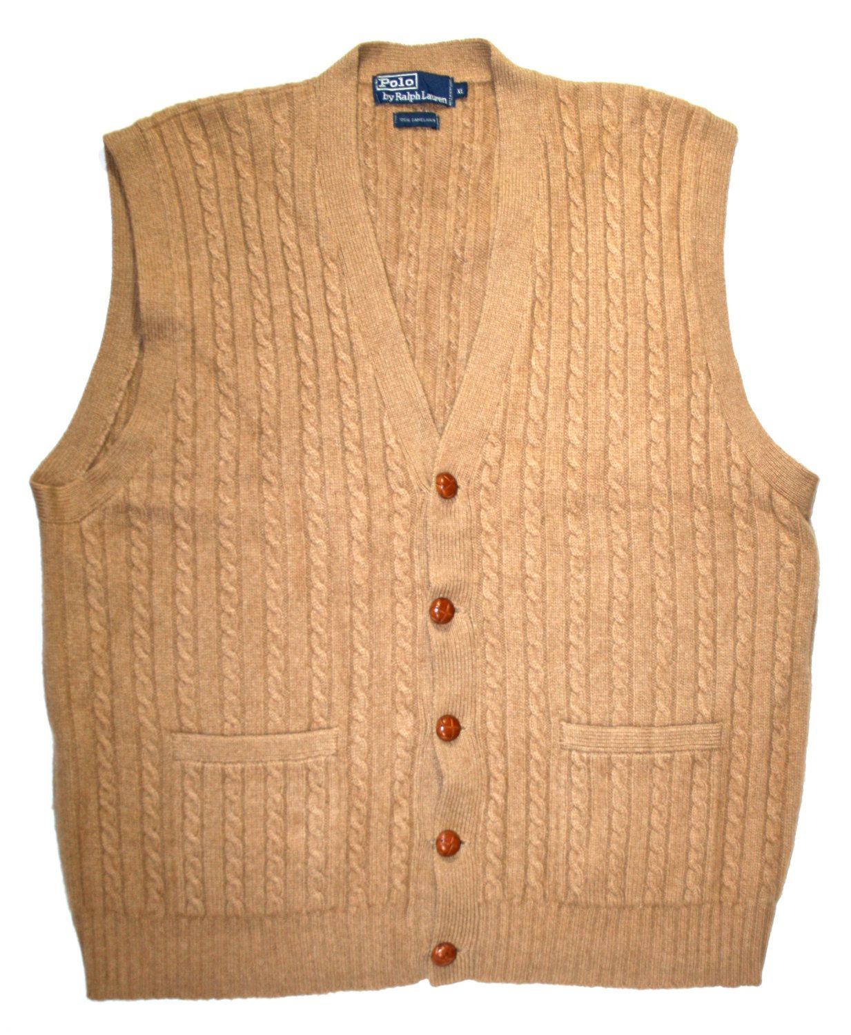 Vintage Polo by Ralph Lauren Camel Hair Sweater Vest Mens Size XL ...