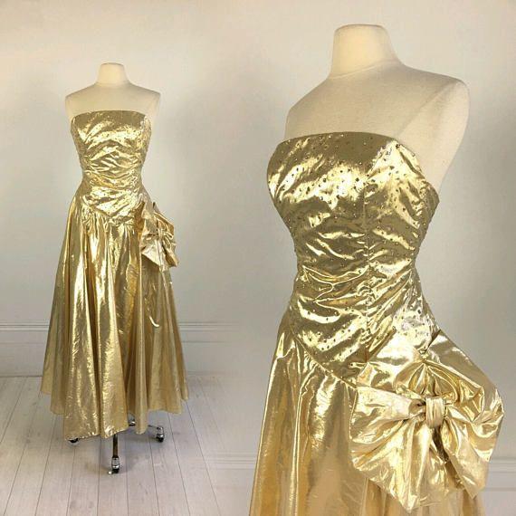 43193e2f404 Vintage 80s Liquid Gold METALLIC PROM DRESS strapless lame glitter  polka-dots + big bow party wild child S