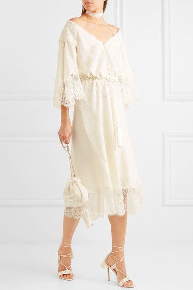 Lace-paneled Silk-jacquard Midi Dress - Ivory Etro