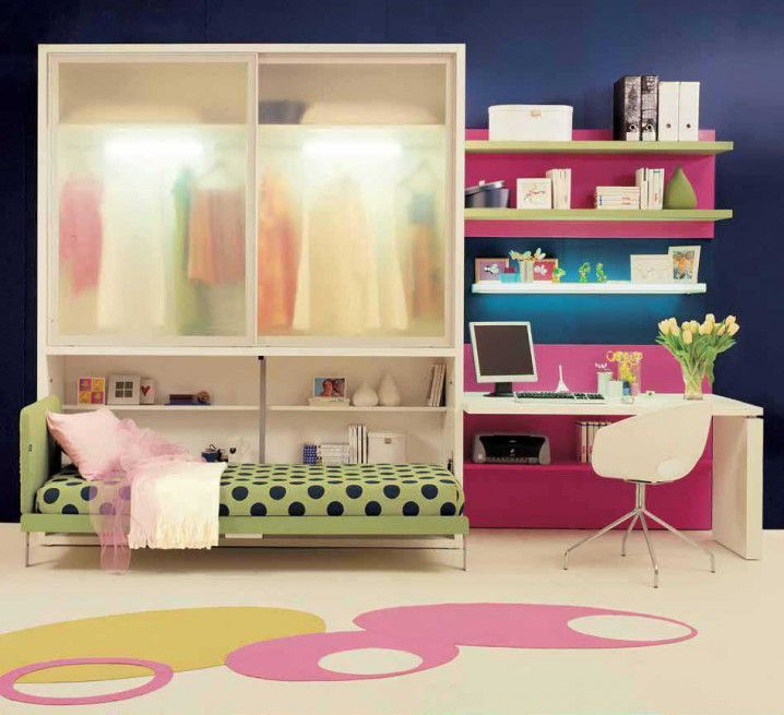 Cute Pink Cream Small Teen Room Ideas With Closet Above Foldable Beds