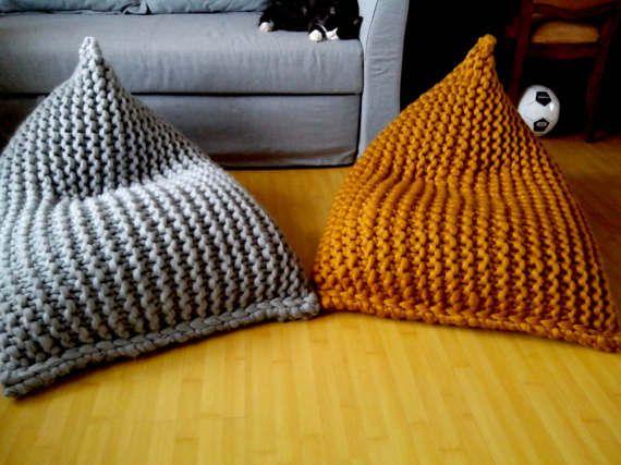 Chunky Wool Knit Grey Mustard Kids Bean Bag Chair Nursery