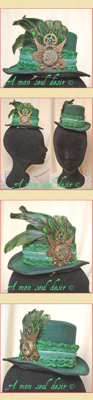 "A mon seul desir : Gibus Mini Hat ""Green Gears"""