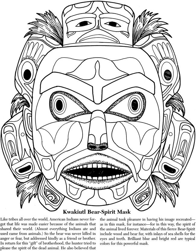 aztec mask template - welcome to dover publications dibujos pinterest