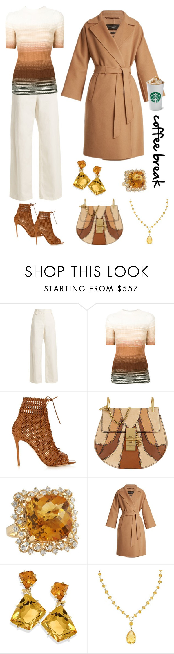 """""""Caffeine Fix: Coffee Break"""" by karen-galves ❤ liked on Polyvore featuring The Row, Missoni, Gianvito Rossi, Chloé, Weekend Max Mara and coffeebreak"""