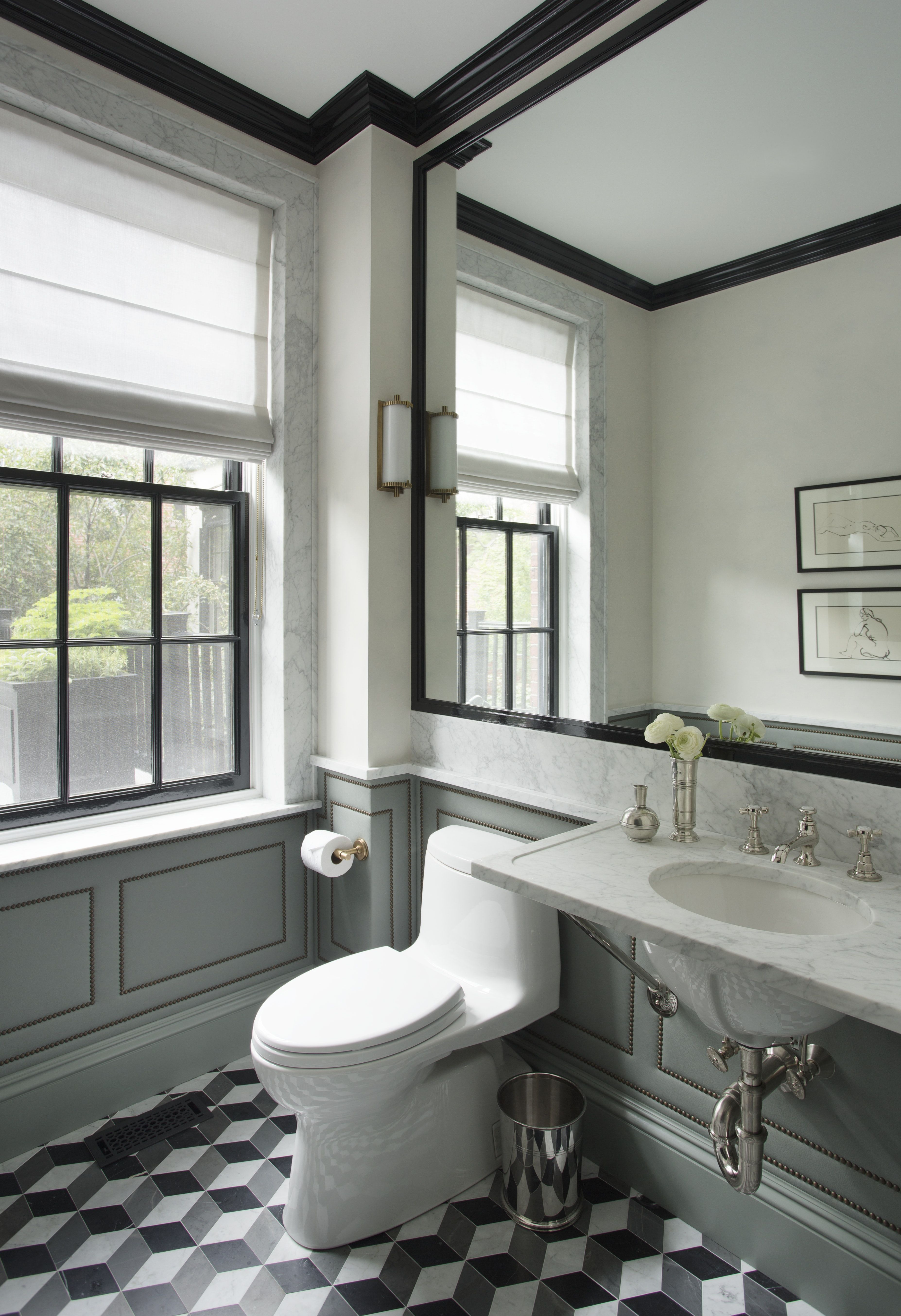Marble Chair Rail Detail Above The Bathroom Wainscoting Bathroom Interior Mold In Bathroom Bathroom Remodel Cost