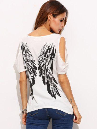 1c446c013a1e5 Ivory Open Shoulder Wings Print Back T-shirt … | Diversos | Shirt…