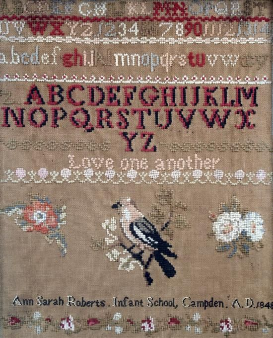 A 19th Century Sampler Stitched By Ann Sarah Roberts & Dated 1848