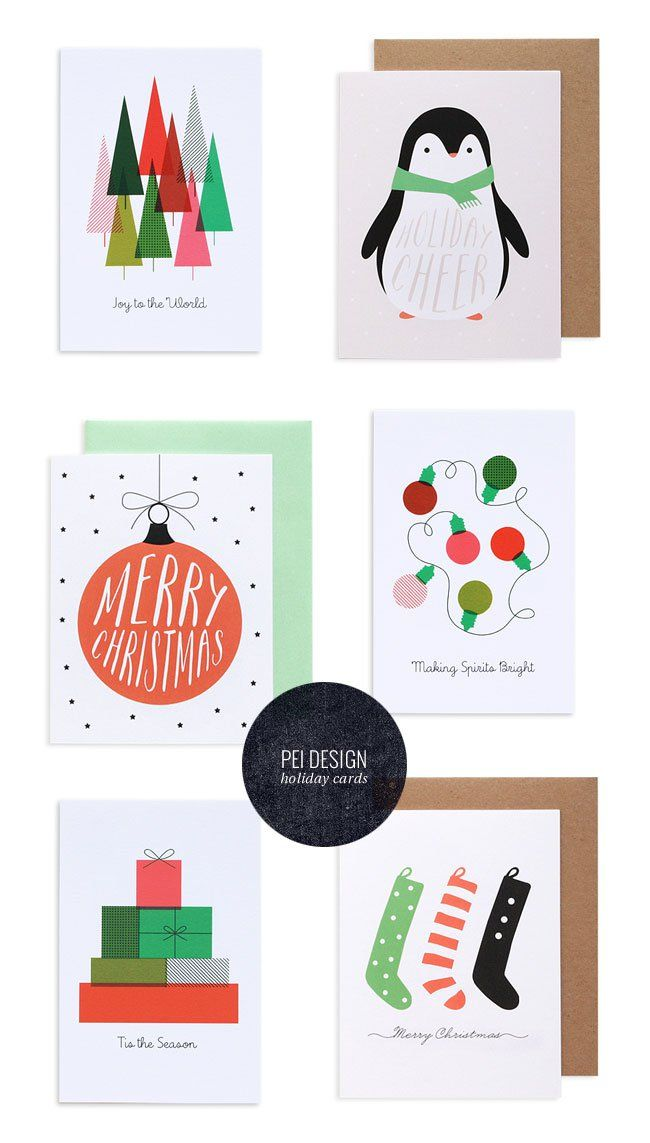 modern holiday cards postcards by pei design - Modern Holiday Cards