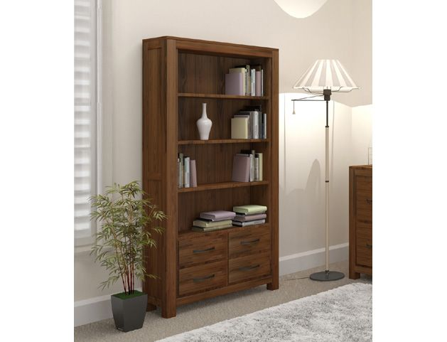Mayan Walnut Large 4 Drawer Bookcase 5ft 9 Fully Assembled