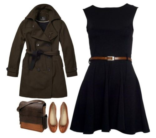 """The Lunch Date""   Dress- DesireClothing  Trench Coat- Scotch Soda  Shoes- Anniel Classic Ballerina from Steven Alan  Satchel- 'Rubicon' Rucksack"