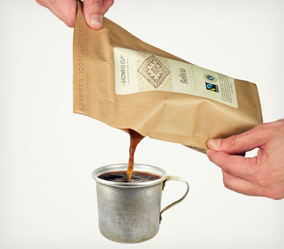 Especially great for camping, traveling or a great cup of coffee in a hurry, Grower's Cup specilaizes in single origin coffees, most of which are fair trade all wrapped in eco-friendly packaging. Just add hot water, wait a few minutes and enjoy your coffee - mess free.
