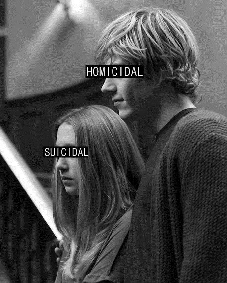 """""""Murder House"""" This is kinda like me and my friend Devan we're genderbent Violet and Tate I'm homicidal he's suicidal"""