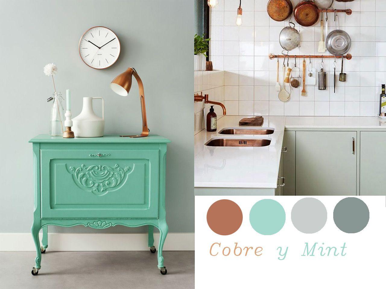 14 Combinaciones impactantes de decoración con cobre | Verde menta ...