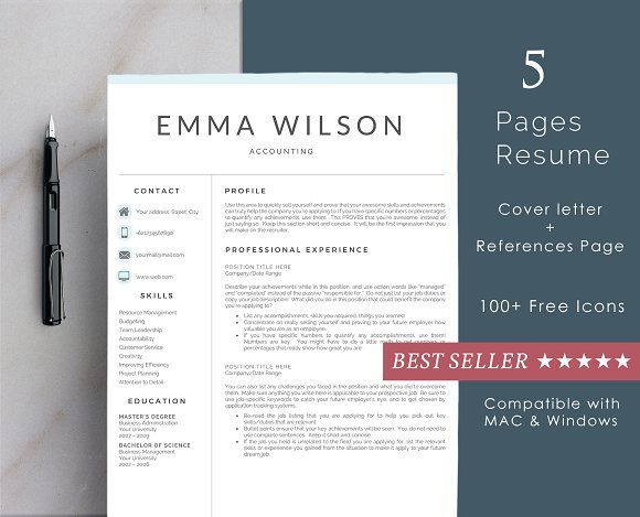 Professional Resume Template 5 Pages Template - resume 5 pages