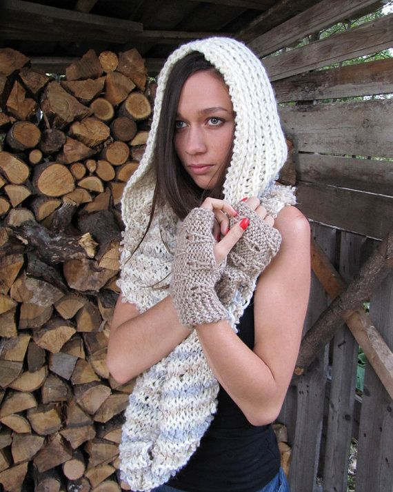 FAIRY Hooded chunky infinity scarf / vest / cowl in by elfinhouse, $53.00