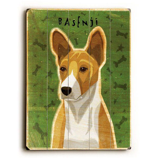 Basenji by Artist John W. Golden Wood Sign