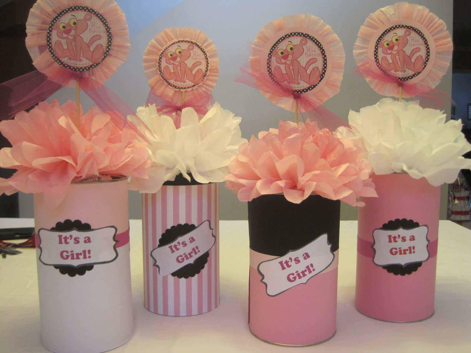 Pink Panther Matching Centerpieces Made From Empty Oatmeal Tubs