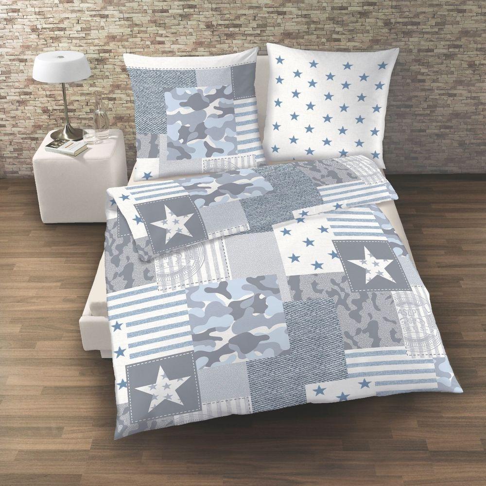 Camouflage Camo Bettwäsche Sterne Stars Blau Jeans Denim 2 Tlg