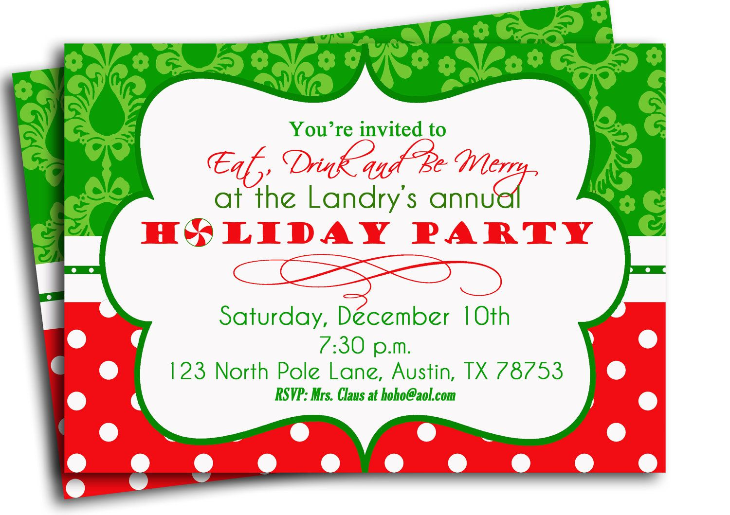 Christmas Party Invitation Printable - Traditional Holiday Swirl ...