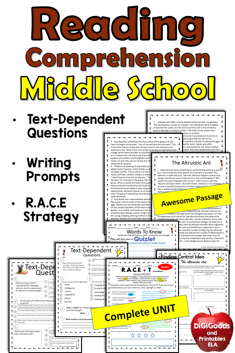 Reading Comprehension With Questions Unit Reading Comprehension Middle School Texts Reading Comprehension Passages