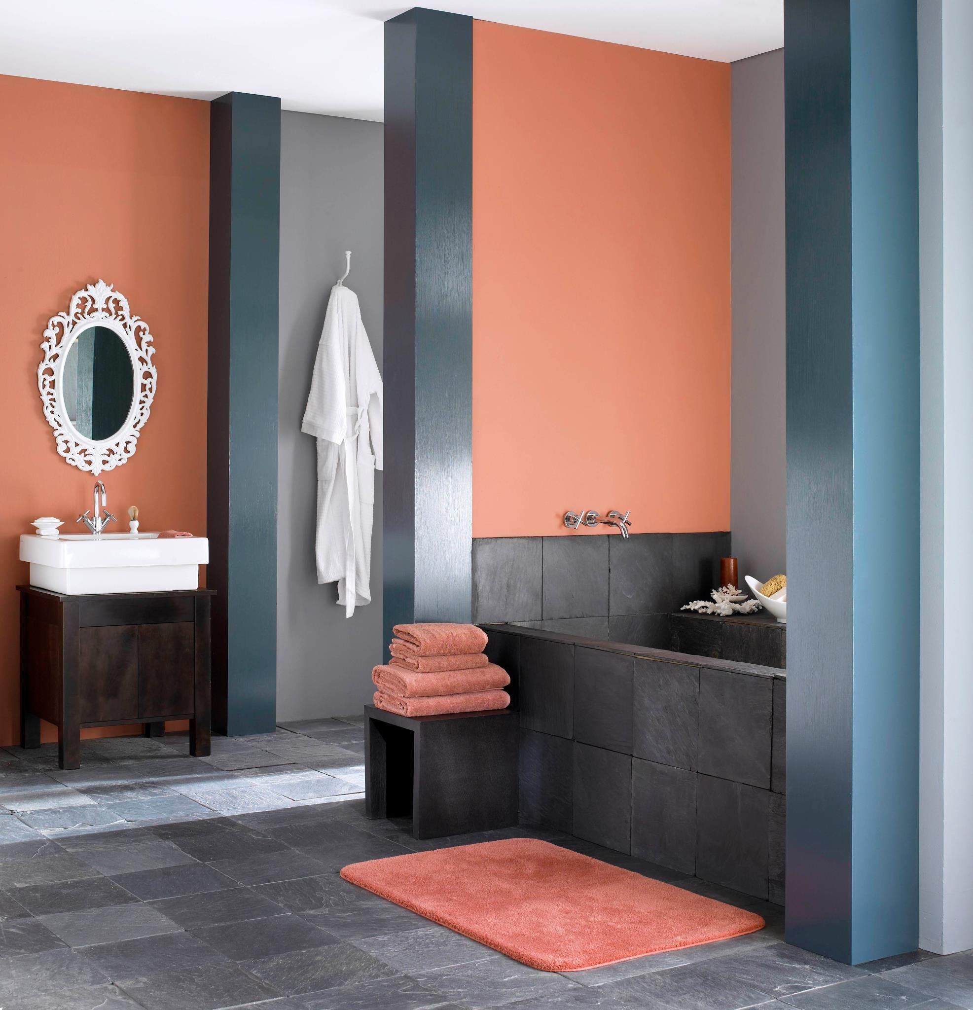 Gray Bathrooms With Accent Color: Benjamin Moore Coral Bronze 1298, Narragansett Green HC