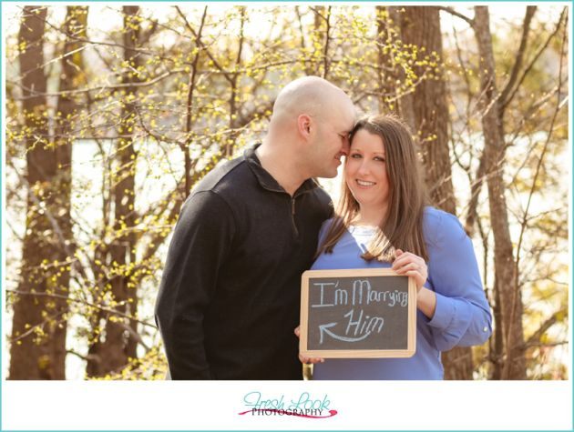 classic blues engagement shoot, couples photos, engagement photo session, love to love you, engagement shoot in nature, Oak Grove Park, Fresh Look Photography, I'm marrying him, cute engagement signs