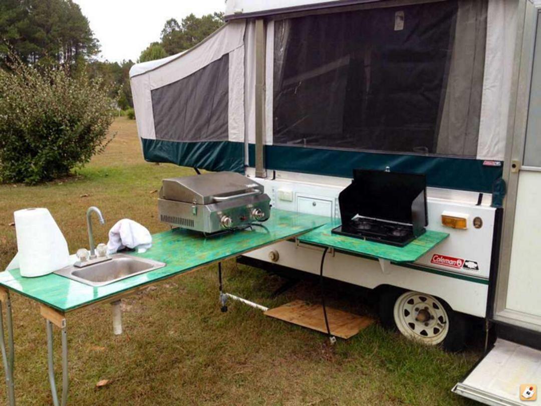 20 Rv Camping Tool Ideas For Camper Organization Freshouz Com Outdoor Camping Kitchen Camper Hacks Popup Camper