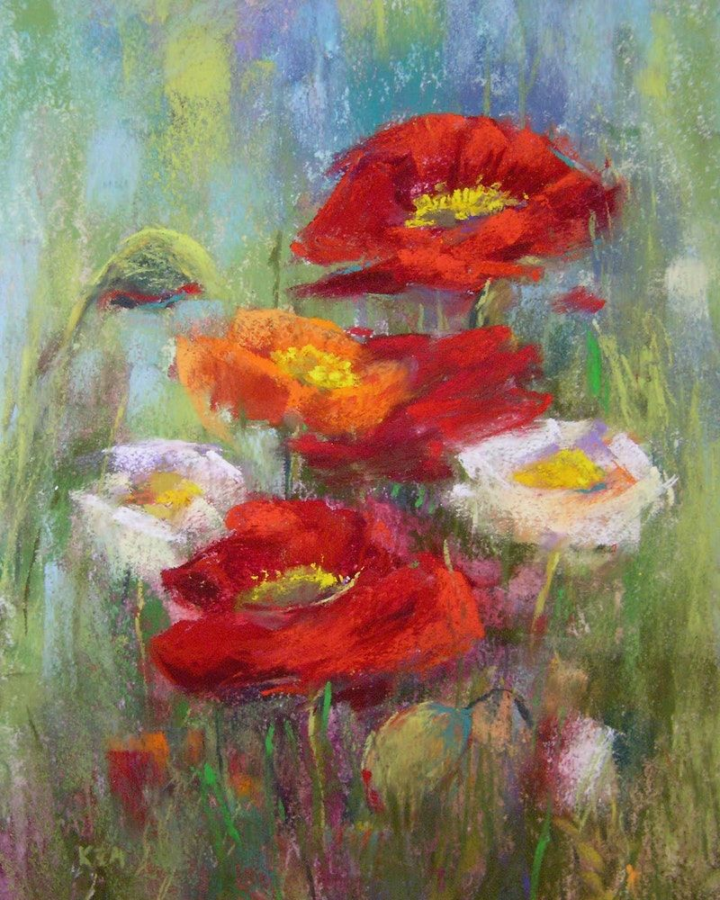 Poppies by the Lake 8x10 pastel Original art painting by Karen ...