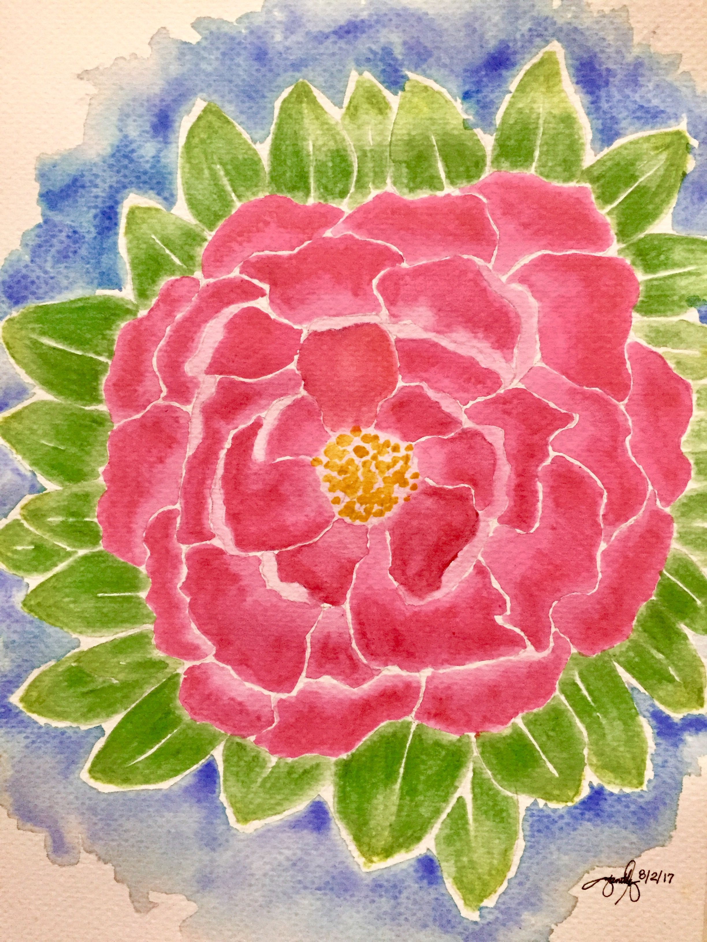 Watercolor pencil on paper. Floral watercolor painting. Flower ...