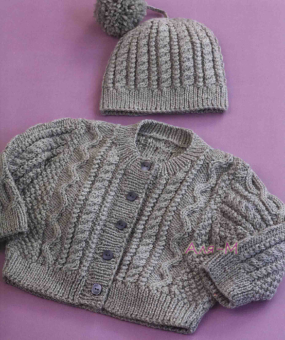 5283b5d37399 Free Pattern  Cabled Cardi   Hat Several patterns here. The banner is in  Chinese