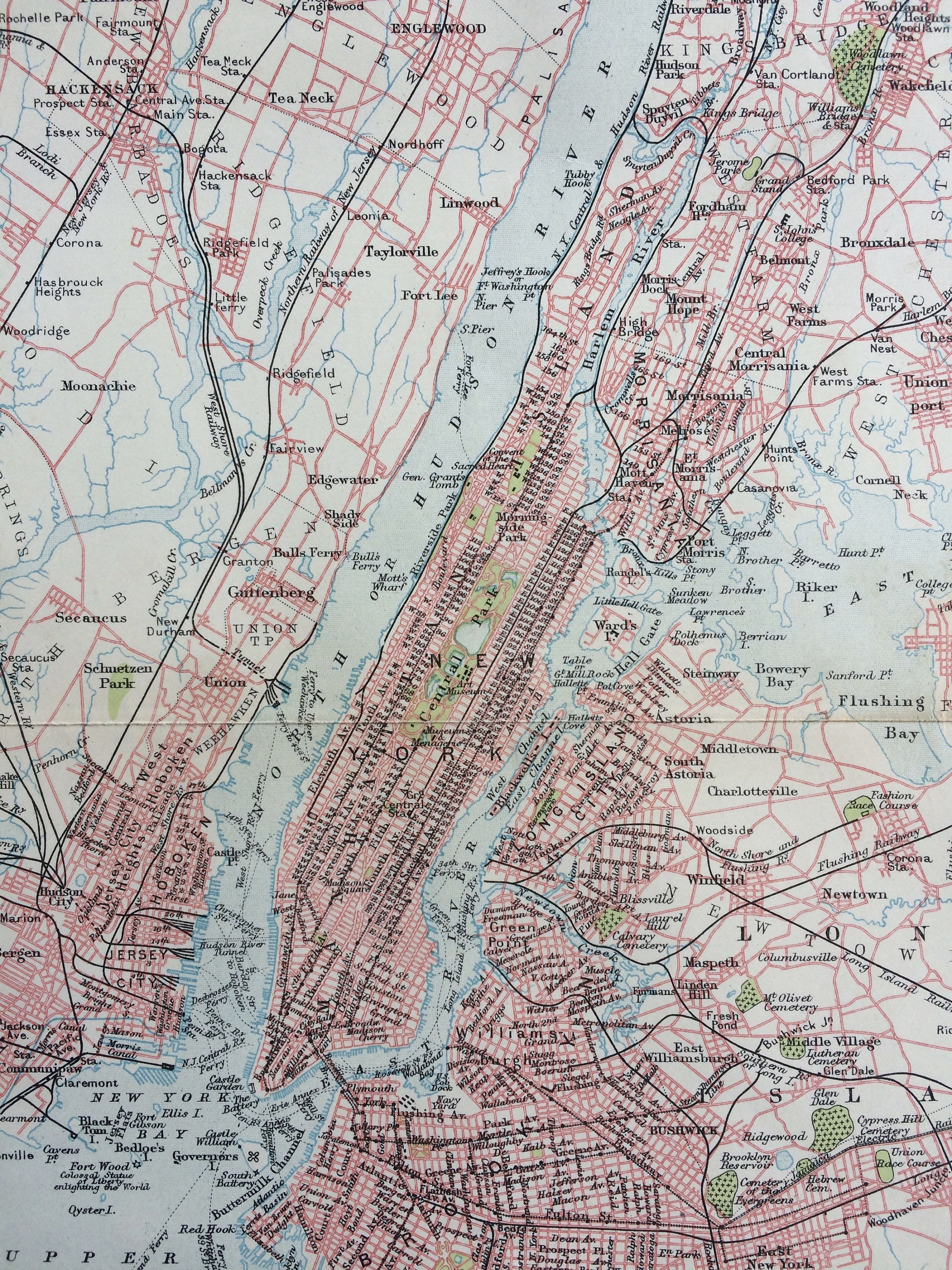 1900 New York And Environs Original Antique Map 9 X 10 5 Inches