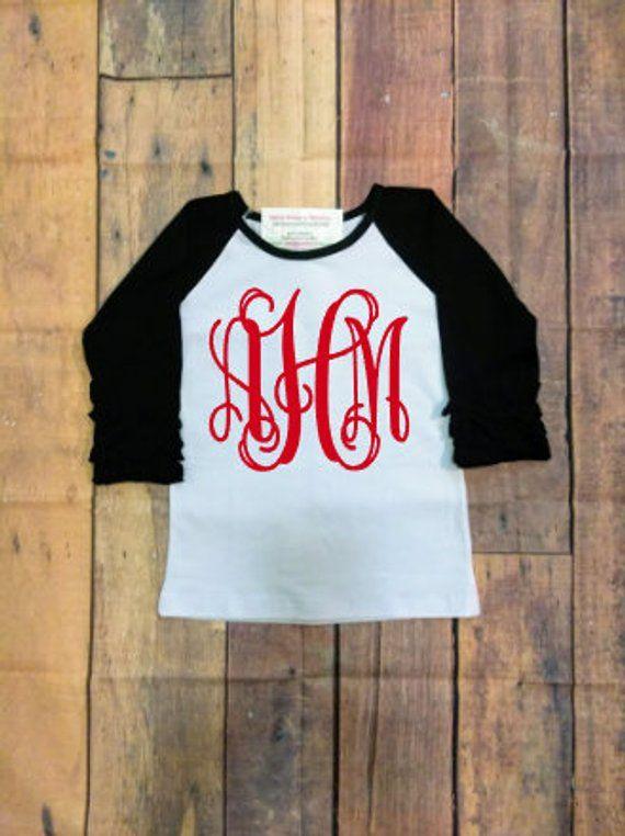 Monogrammed Toddler Girls Icing Ruffled Sleeve Raglan Valentines Shirt Birthday With