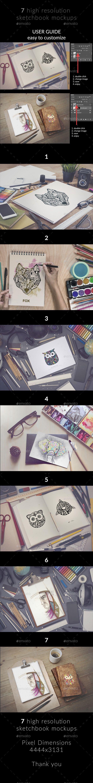 Sketchbook MockUp — shop PSD professional eraser • Available