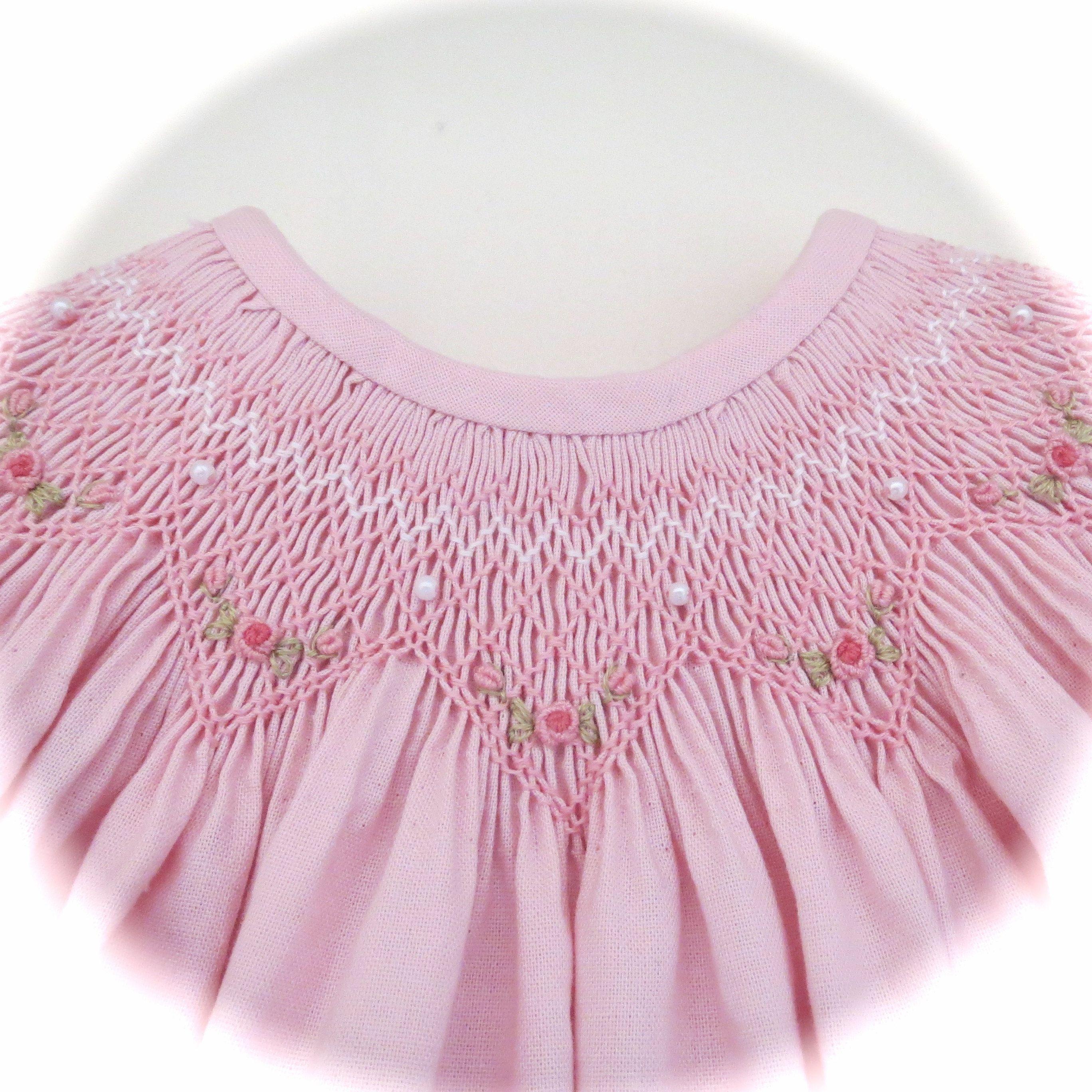 Lovely Light Pink and White Hand Smocked Dress for Baby Girl ...
