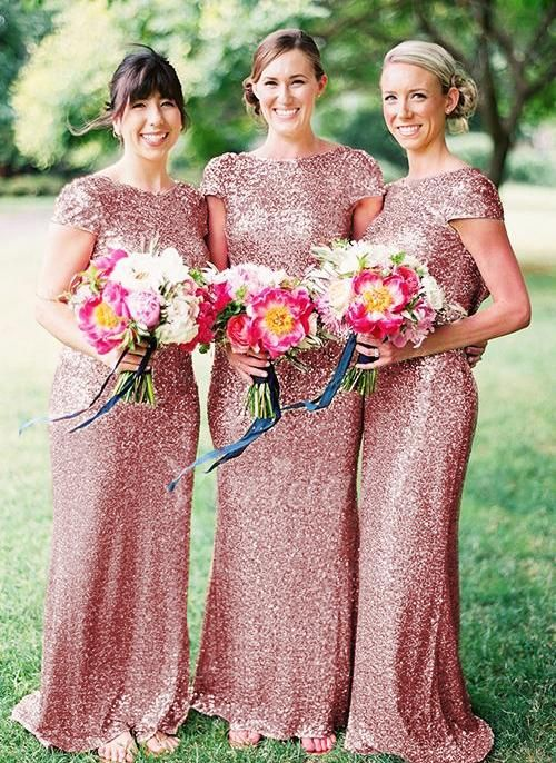 e548ad19319 Sparkly Rose Gold Pink 2016 Cheap Mermaid Bridesmaid Dresses Short Sleeves  Sequins Backless Long Beach Wedding Party Gowns Gold Champagne Online with  ...