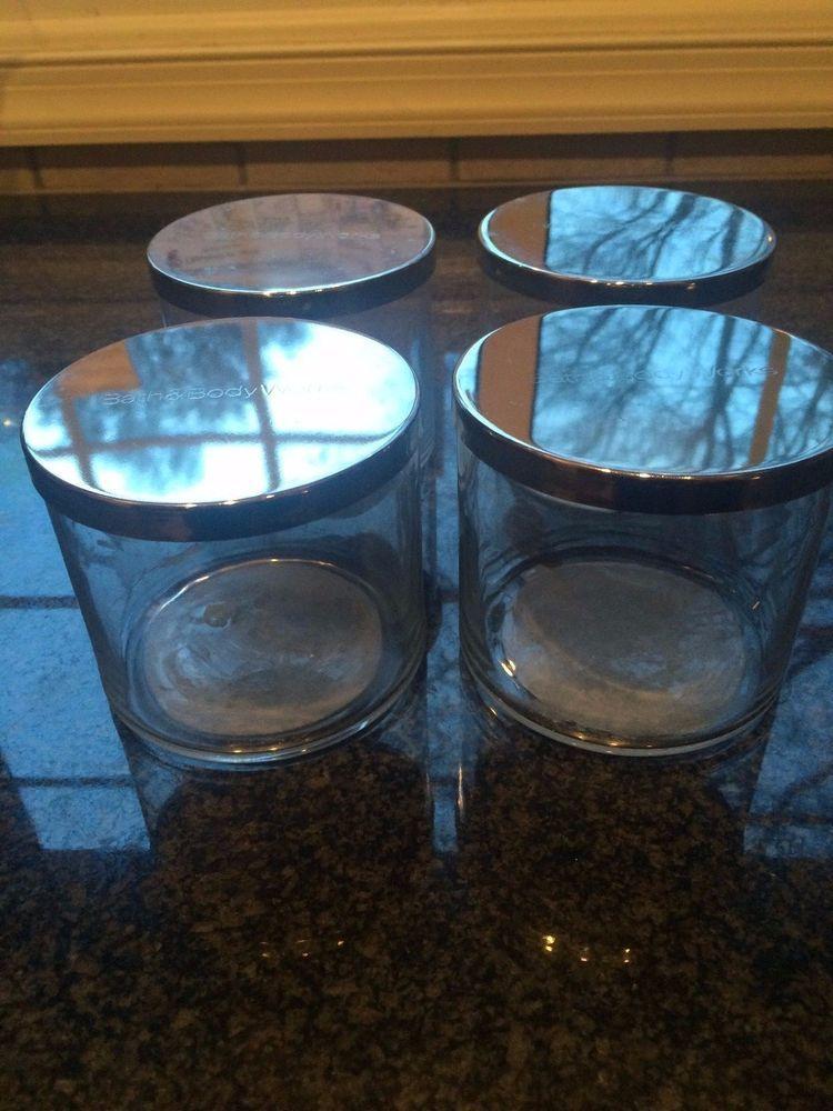 Bath body works 4 empty candle glass jars wlids for
