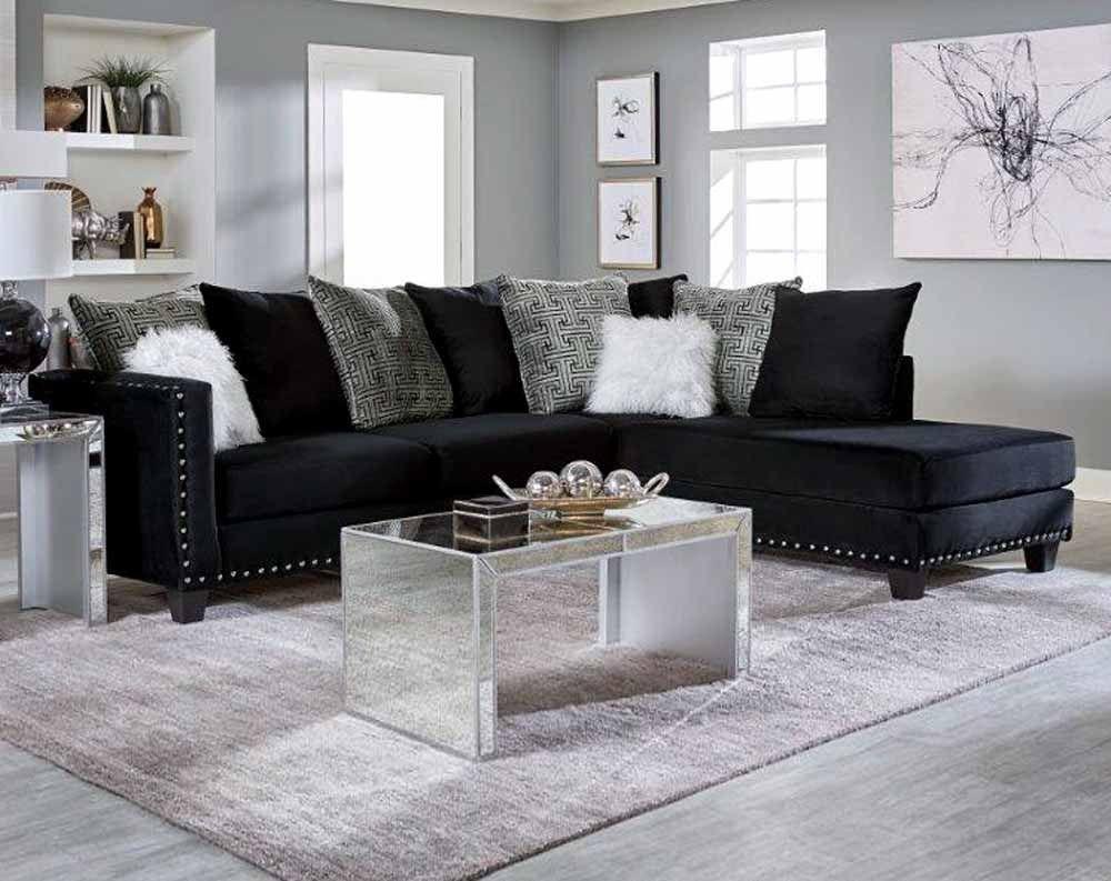Laf Sofa 73l X 37d X 38h Raf Chaise 90l X 37d X 38h Black Sectional Living Room Black Living Room Black Couch Living Room
