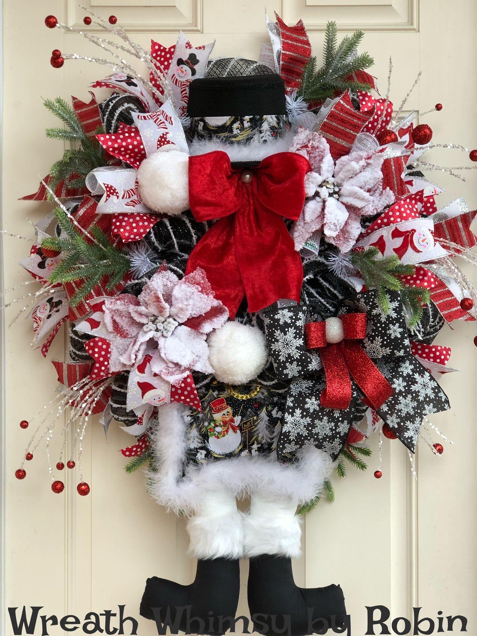 Xl Winter Snowman Wreath In Red Black White Christmas Wreath Holiday Wreath Snowman Decor Holiday Decor Character Wreath Christmas Wreaths Holiday Decor