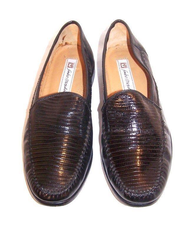 SANDRO MOSCOLONI black GENUINE LIZARD LEATHER dress shoes loafers men's 8.5 #SandroMoscoloni #LoafersSlipOns