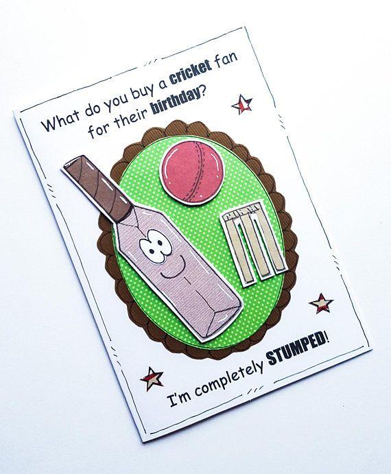 Cricket Birthday Card Male Birthday Sports Fan Pun Card Birthday Cards Diy Dad Cards Greeting Cards Handmade