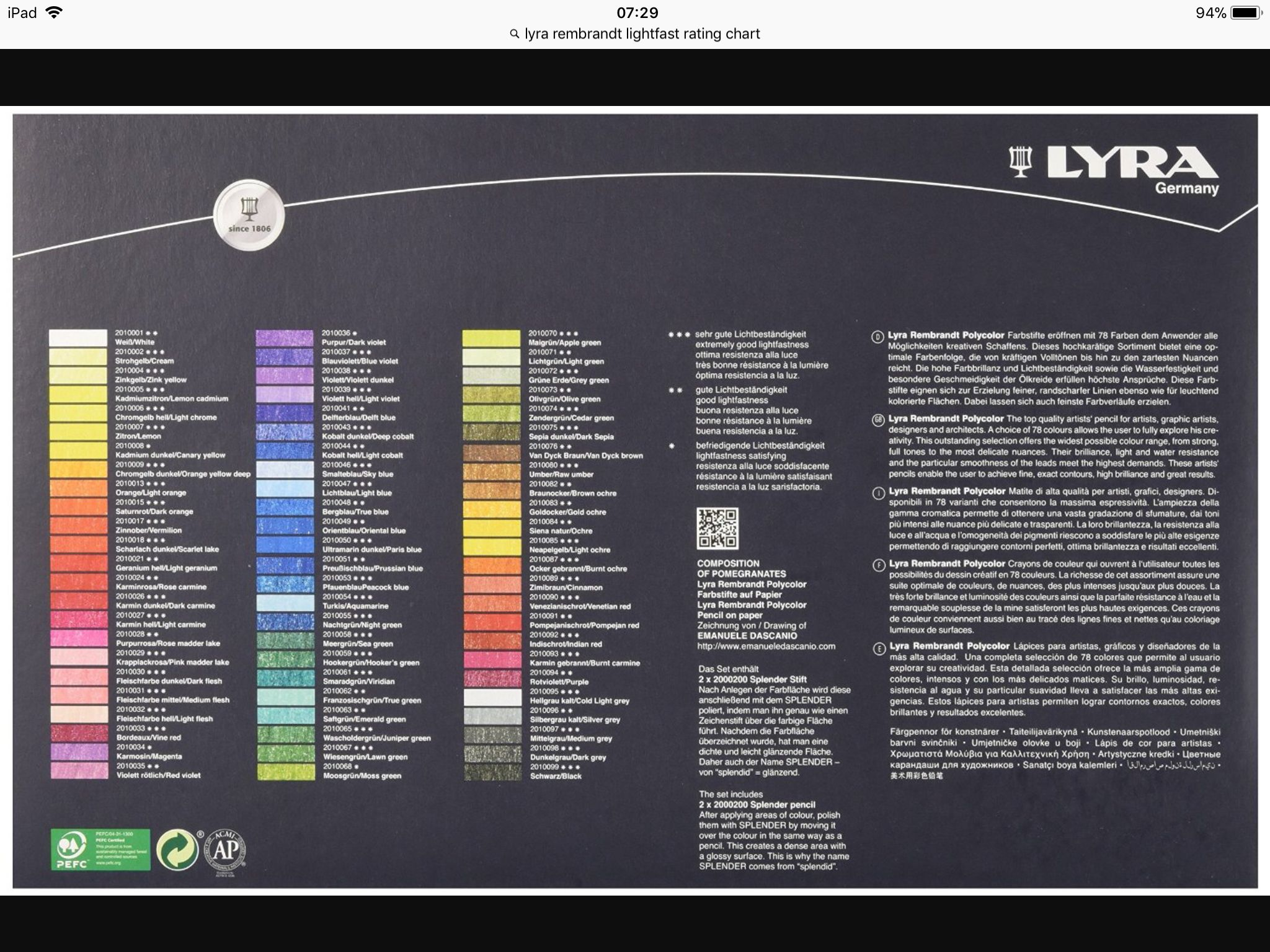 Lyra Rembrandt Polycolor 72 Color Chart And Lightfastness Color