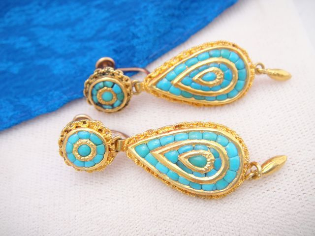 Exquisite Antique 18k Gold French Victorian Turquoise Earrings