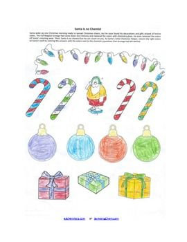 Christmas Chemistry Review Worksheet w/ Coloring fun for High School ...