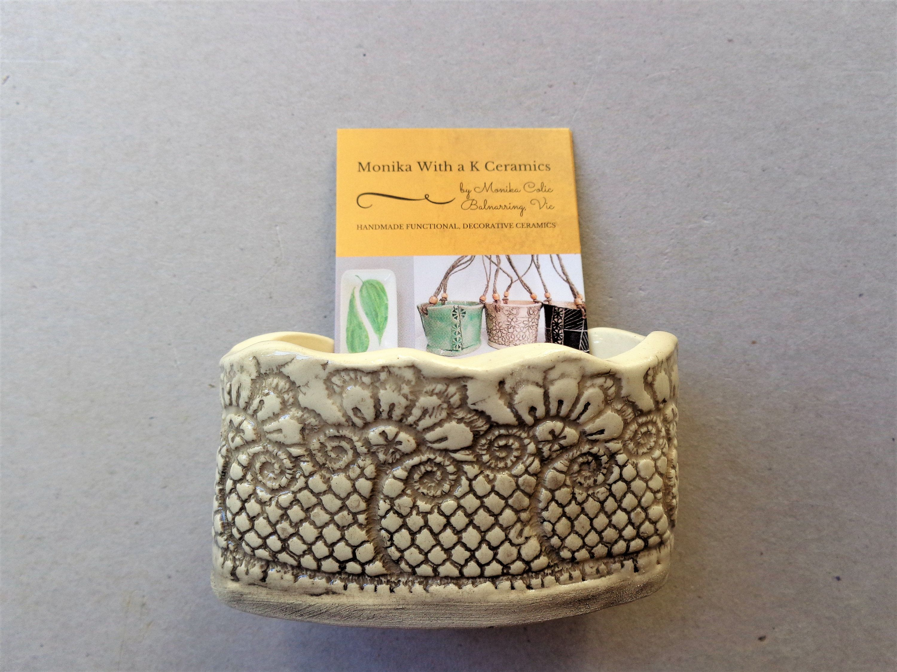 Lace textured ceramic business card holder, home office desk decor ...