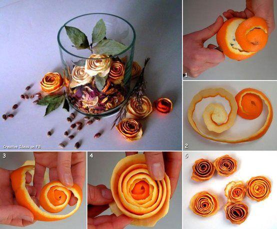 Flores de casca de laranja, desidrate no microondas para não criar bolor.
