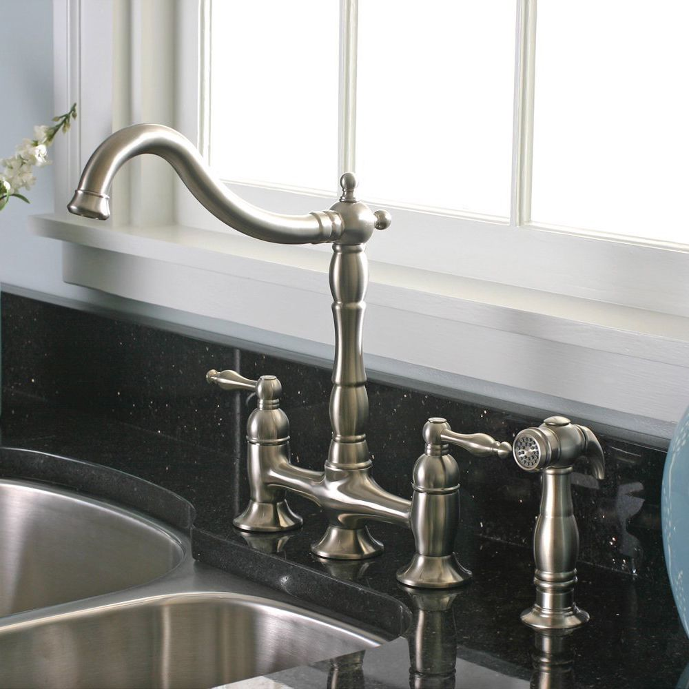 Charelstown 2 Handle Brushed Nickel Lead Free Bridge Style Kitchen Faucet    Overstock