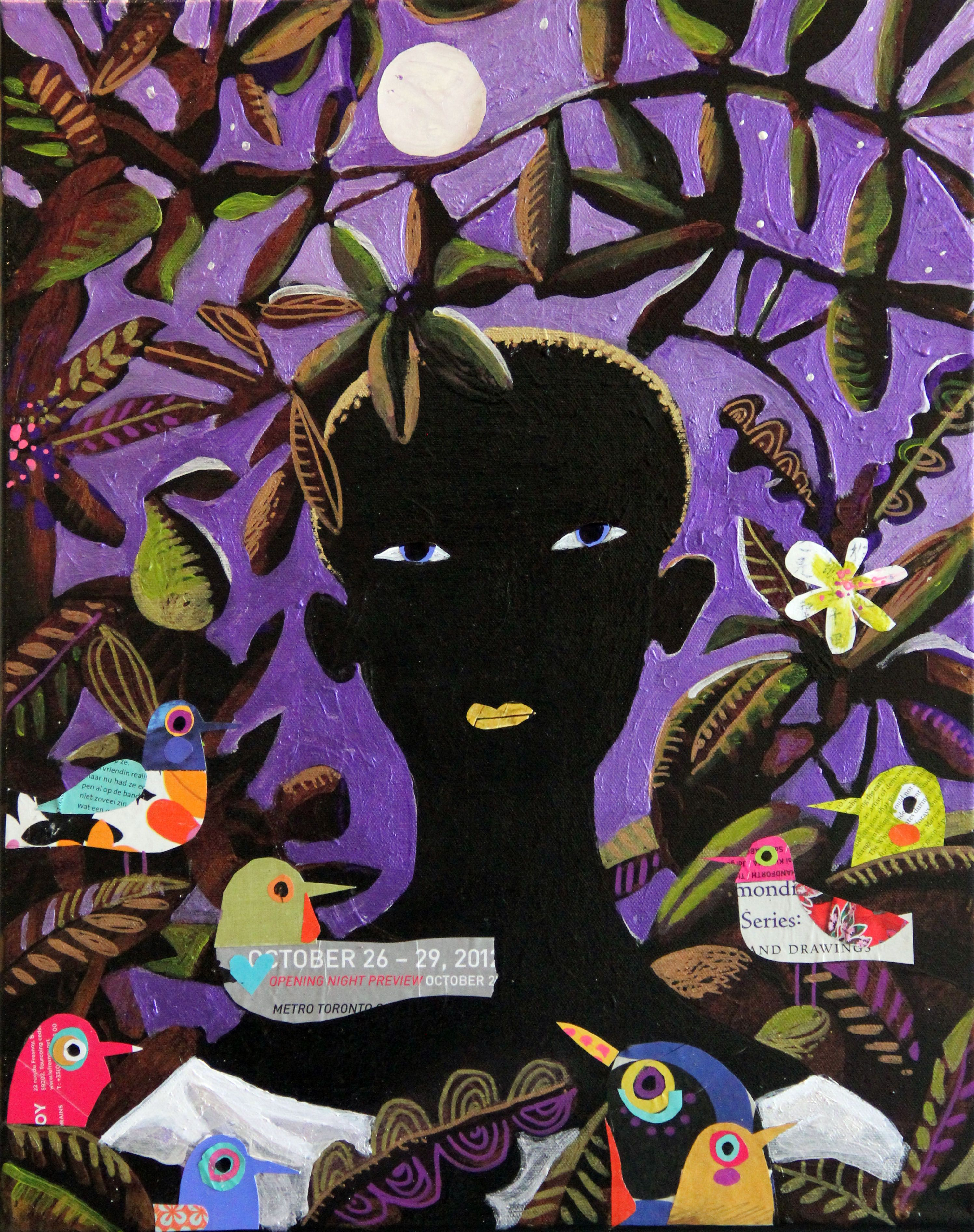 Cut Paper Collage On Canvas 16
